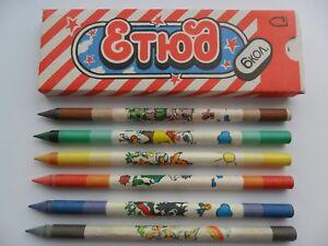 """Colored wax pencils """"ETUD"""" 6 pcs USSR 1989"""