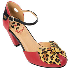 Banned Retro Rockabilly Vintage Swing Riemchen Pumps - Into The Wild Rot Leopard
