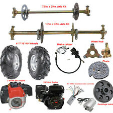 Go Kart Rear Live Axle Kit Brake Assembly Wheels Sprocket Drift Trike Quad ATV