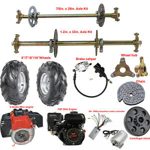 Go Kart Rear Live Axle Kit Brake Caliper Hub Sprocket Rear End Parts Golf Cart