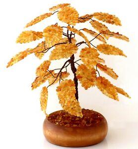 "Natural Baltic Amber Tree of Happiness Handmade Figurine Russian Souvenir 7 1/2"""