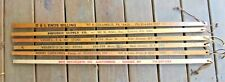 5 OLD ADVERTISE SQUARE RULERS YARDSTICK WALKING STICKS 5&10 STORE AUCTIONEERS  +