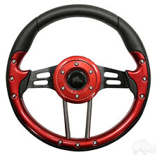 GOLF CART STEERING WHEEL RED /BLACK FITS MOST GOLF CARTS(R)