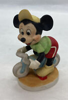 """Walt Disney Productions Collectibles Mickey Mouse Cyclist Disney Ceramic 4"""" Tall"""