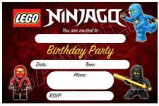 1 x LEGO NINJAGO CHILDRENS BOYS BLANK DIY BIRTHDAY INVITATIONS + FREE MAGNETS