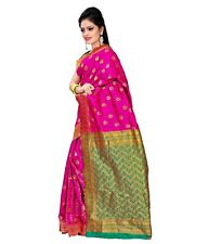 Vardhaman Goodwill Pink Banarsi silk  Golden Zari border Saree with Blouse