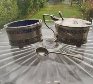 Antique Solid Silver Mustard Pot & Open Salt &qqqSpoon glass liner Docker & Burn