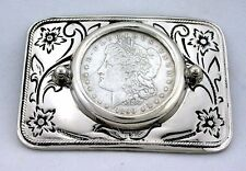 Silver Color Western  REAL 1890 Morgan Silver Dollar Floral Flower Belt Buckle