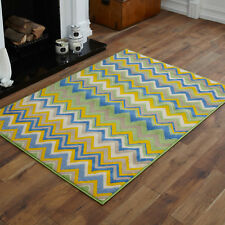 Large 8-10mm Thick Clearance Alpha 160x230cm Quality Multi Modern Soft Rugs 9. Wave Green Blue Yellow