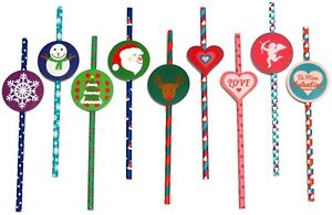 25 CHRISTMAS VALENTINE PAPER PARTY DRINKING STRAWS LOVE CUPID HEART - with Tags