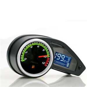 LCD Digit RPM Motorcycle Speedometer Tachometer Gauge Odometer Waterproof