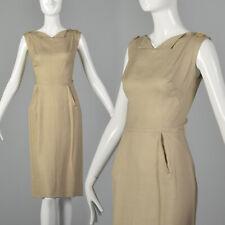 Small 1960s Bonwit Teller Twill Day Dress Beige Vintage Sheath 60s Wiggle Vtg