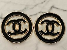 2 Vtg Gold Tone Black Enamel Chanel Stamped Buttons , 23 mm