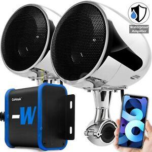 Waterproof Bluetooth Motorcycle Stereo Speakers Audio FM Radio System USB Harley