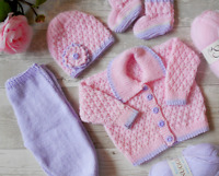 DK Knitting Pattern instructions Baby Girls Cardigan Hat booties trousers set