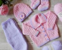 DK Knitting Pattern for Baby Girls Cardigan Hat booties trousers modern pram set