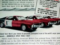 1968 AMC JAVELIN ORIGINAL AD * SST/390 v8/290/343/hood/door/steering wheel/decal