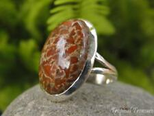 Fossil Dinosaur Bone 925 Silver Ring (Size 7 1/4, O)  #58636