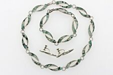 Inlay Necklace Bracelet & Earring Set Rbg Mexico Sterling Silver 925 Turquoise