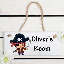 Personalised Kids children's child's door room sign plaque - Pirate