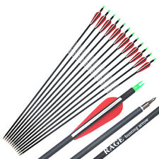 "12Pcs 30"" Carbon Arrows Compound Bow Arrow Archery Hunting Screwed Tips and Nock"