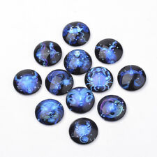 20 x Constellation RosyBrown Pattern Flat Back Glass Cabochons for DIY Projects