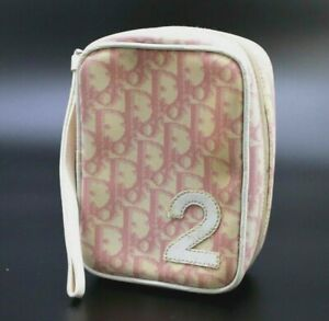 【Rank C】 Authentic Christian Dior Trotter No.2 Cosmetic Pouch PVC Leather Pink