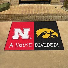 Nebraska Huskers - Iowa Hawkeyes House Divided All Star Area Rug Mat