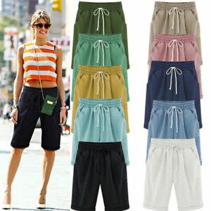UK Womens Summer Cotton Linen Baggy Shorts Ladies Comfy Casual Knee Length Pants