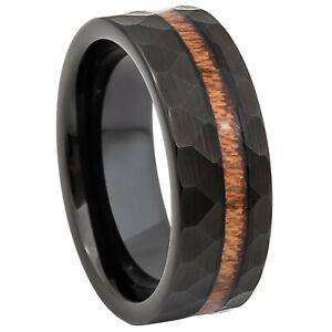 Tungsten Ring Black Ion Plated w/ Hawaiian Koa Wood Inlay 8mm Wedding Unisex