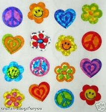 Sandylion Glittery PEACE FLOWERS Scrapbooking Mini Stickers F21 *3 SQUARES*