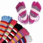 2 Pairs: Women's Fuzzy Striped Toe Socks