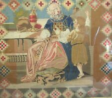 "Large 19th C. Needlepoint of Bishop & Altar Boy  c. 1870  30"" x 27""   Christian"
