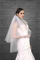Bridal Veil on Comb Waist Length Glittering Tulle Cut Edge VZ-92