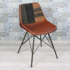 More details for vintage industrial eiffel chair, brown leather fabric metal rivet restaurant