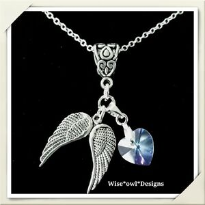 GUARDIAN ANGEL & CRYSTAL HEART NECKLACE. STERLING SILVER CHAIN OPTION & GIFT BOX