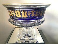 VAL ST LAMBERT - Grande coupe Borodine Danse de Flore bleu cobalt - décor or