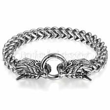 Mens Vintage Heavy Stainless Steel Double Dragon Head Bracelet Cuban Biker Chain