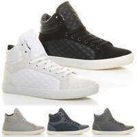 MENS QUILTED LACE UP FLAT CASUAL HI HIGH TOP TRAINERS SHOES ANKLE BOOTS SIZE