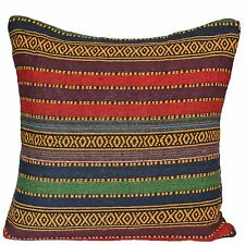 "Rainbow Colourful Woven Stripes Diamonds Aztec Cushion Covers 50 cm 20"""