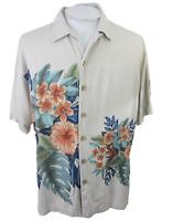 "Paradise Blue Men Hawaiian camp shirt L p2p 25"" aloha luau tropical floral vtg"