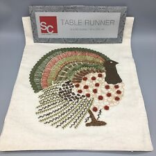 Beaded Turkey Table Runner Cream Embroidered Thanksgiving Fall Decor Designer