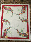 Vintage+1950s+Heavy+Cotton+Tablecloth+White+with+Red+Border+and+Floral+%22Sprays%22