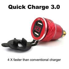 Red CNC QC3.0 Dual USB Charger DIN Socket Digital Voltmeter for BMW Motorcycle