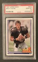 1991 Upper Deck Brett Favre #647 RC Rookie Force PSA 10 GEM MINT Packers 🔥HOF🔥