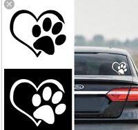 PAW PRINT HEART Die cut Vinyl Decal - Car Window Sticker PUPPY I LOVE MY DOG