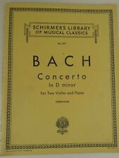 BACH concerto POUR 2 VIOLONS ET AVEC PIANO schirmer's librairie