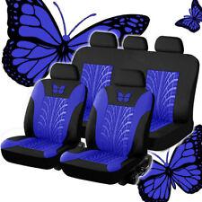 9PC Blue/Black Seat Cover Full Interior Set Universal Fitment For Car SUV Van