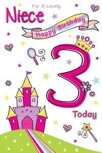 NIECE 3 today 'Princess'  QUALITY Birthday CARD - Cherry Orchard