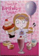 Time for Birthday treats! card, any age, girl, food theme, glitter, brand new